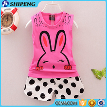 Factory direct sale baby girls boutique clothing sets printed tops and dot shorts sets