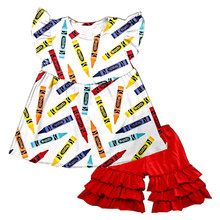 Little girls back to school crayon patterns pearl top tunics set with cotton ruffle shorts clothing sets