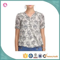 Wholan ladies latest fashion 2015 new design floral rayon tops summer short sleeve blouse