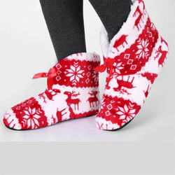 Women Winter Warm Home Slipper Indoor Shoes Reindeer Design Thermal Cotton-padded Shoes Bedroom Floor Slippers