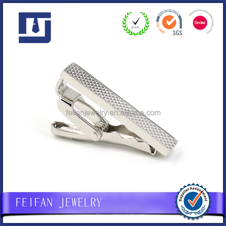 Customized 1.5inch Diamond Pattern Novelty Delicate Tie Clip