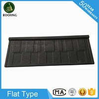 Cheap Flat roofing materials,stone coated steel roofing tiles for house design