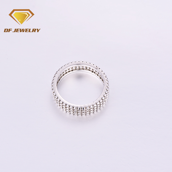Professional Factory Luxury Brass Pave 3 Rows White Stone Rings For Women Men CR1707298