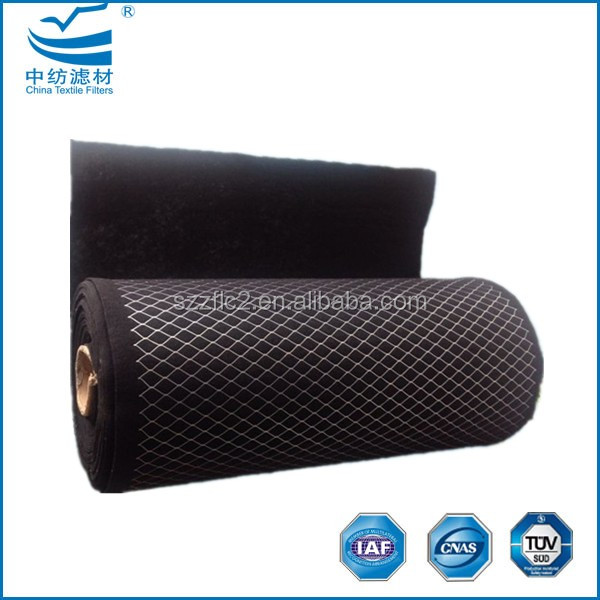 Wire mesh backed activated carbon filter media