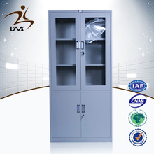 Henan mingxiu modern steel office furniture 2 swing glass door metal file cabinet / steel file cabinet