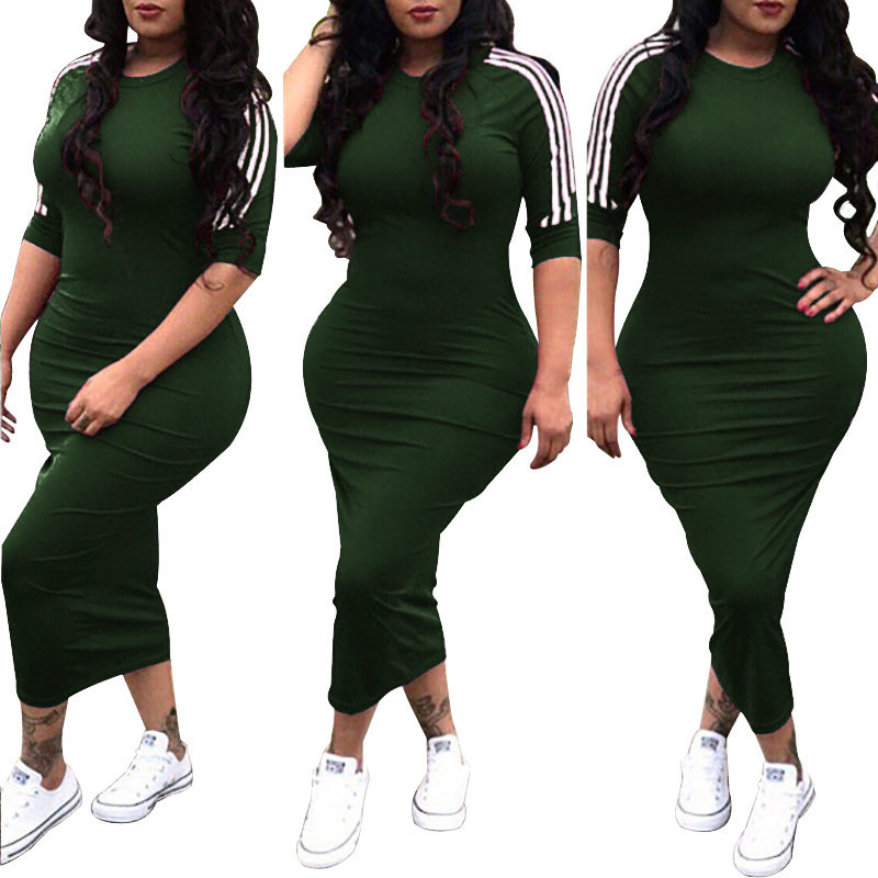 FM-A8221 Elastic dress medium sleeve women apparels pure color plus size intimate apparel dresses