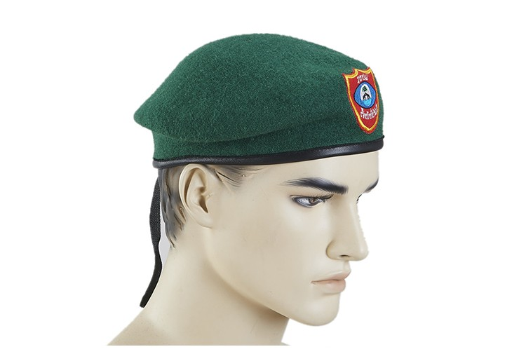 Hand knitted beret winter beret hats embroidered military mens wool beret