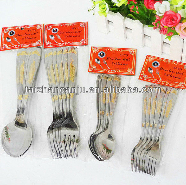 Stainless steel gold plated flatware sets