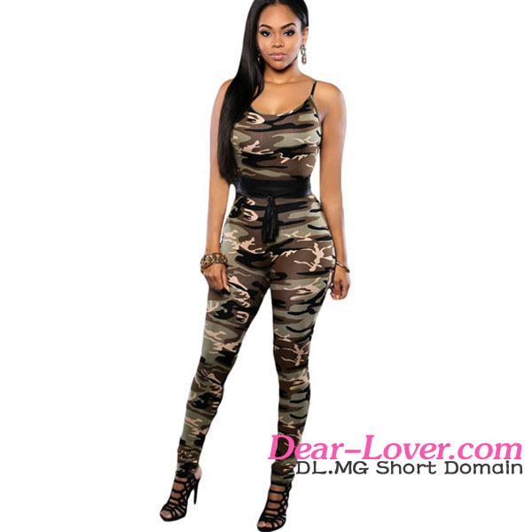 Wholesale Sexy Military Camo Print Fitted Jumping Suits