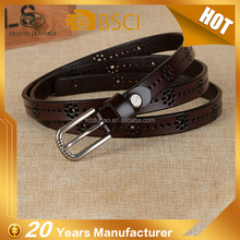 Fashion hollow design woman genuine leather belt 100% cowhide leather ladies casual belt