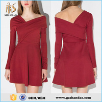 2016 Guangzhou Shandao Custom Made Autumn New FAshion Long Sleeve Short Ruffle Red Cotton Ladies Western Dress Designs