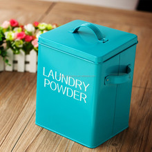 Fashion Metal Laundry Washing Powder Storage Tin Box / Pet Dog And Cat Food Container