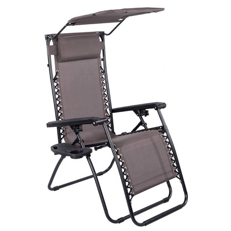 Camping Folding Zero Gravity Chair with Canopy and Cup Holder
