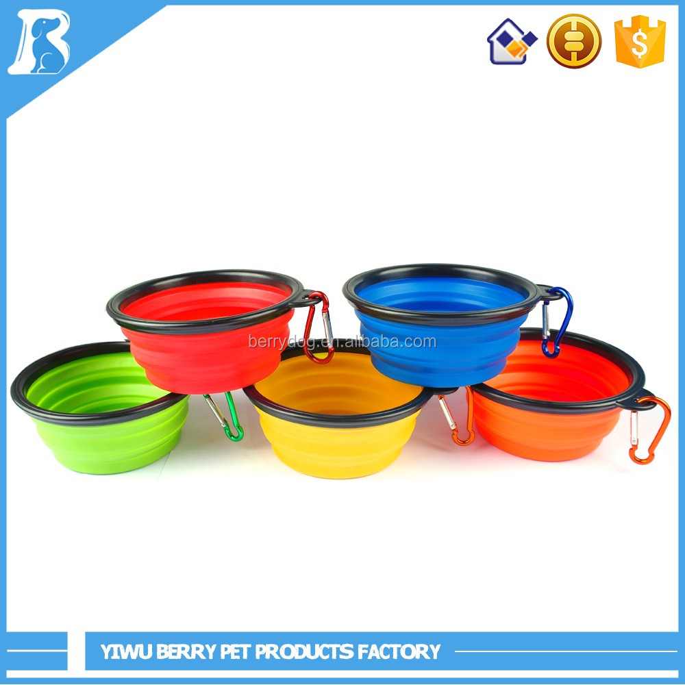 Whosale foldabl raised portable food and water travel silicone dog bowl