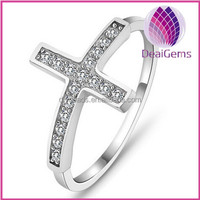 hotsale cross-shape 925 strling sliver ring with zircon for wedding