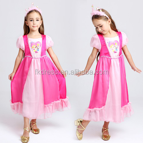 Wholesale Sleeping Beauty Pink Girls Nightgown princess wear pajamas for child dress