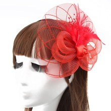 Fashion wedding fascinators flower red feather fascinator headband