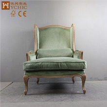 Antique Luxury Green Solid Wooden Home Furniture Sofa Sets