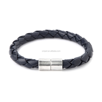 Mens Fashion Accessory Steel Blue Leather