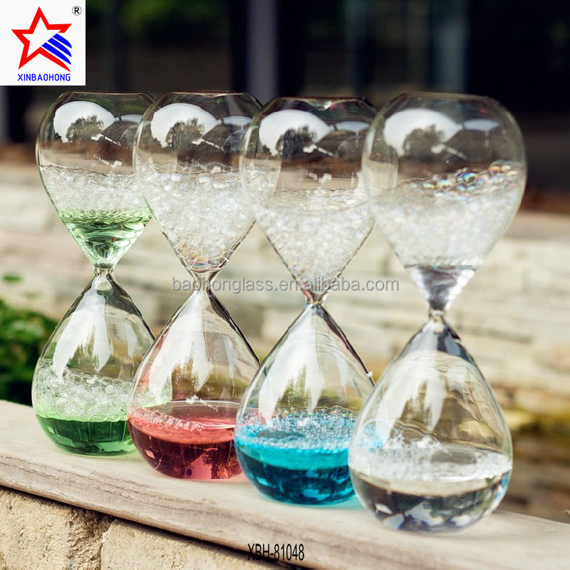 Gifts & crafts big hand blown glass color water bubble hourglass