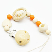 novel and fresh soother clip 35mm with heart and smile face baby wood pacifier holder