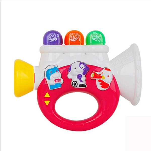 Hot sale educational plastic toy horn for kids made in china