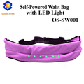 Reflective running waist bag with led night light