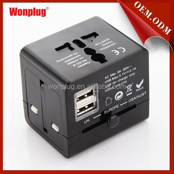 Wholesale top quality world travel power adaptor and usb charger