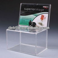 Donation Boxes with Lock with Transparent Color, Made of Acrylic A239