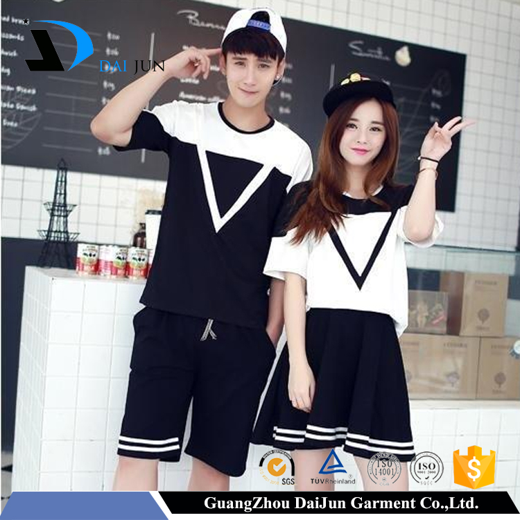 Daijun oem white and black o neck cotton breathable best quality couple t shirts