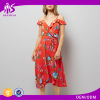 2018 Shandao New Design High Quallity Red Floral Print Viscose Midi Spaghetti Strap Off Shoulder Wrap Dress Elegant