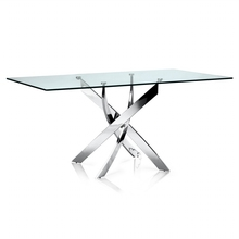square tempered glass dining table designs with stainless steel legs