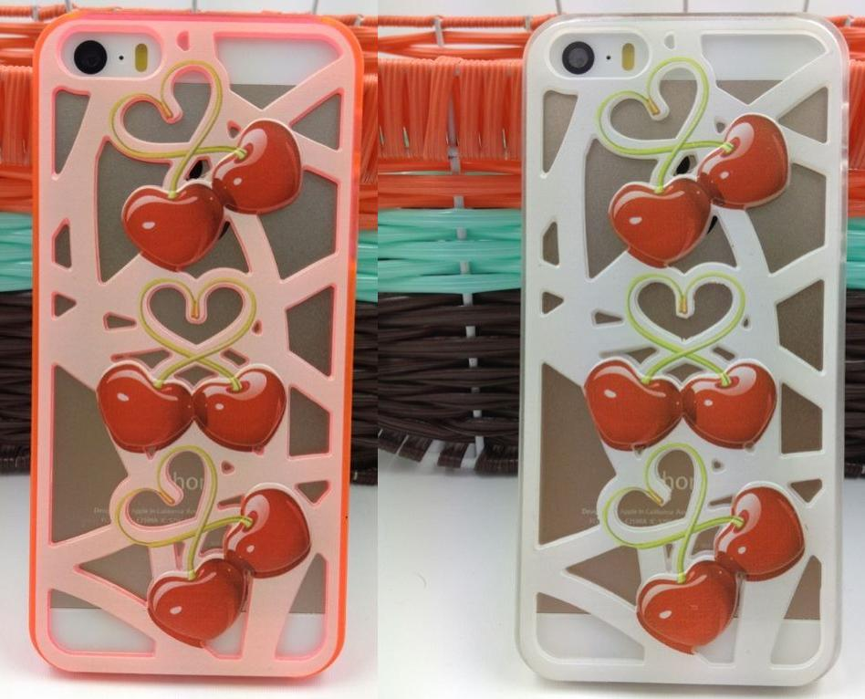 Hollow cherry phone cases for Apple 4G 5G 5C, samsung S3,S4,S5,7100,NOTE3