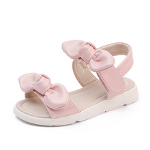 Genuine leather upper pig skin lining pink flat open toe summer fashion bow girls sandals shoes