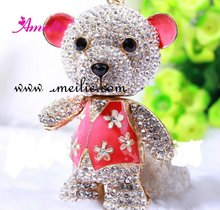 A07519 Wholesale Blue rose red pink color wedding gifts for guest Rhinestone Bear Keychain