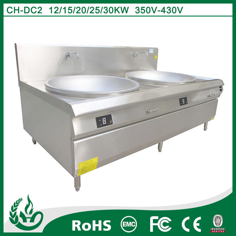 2015 Chuhe stainless steel large capacity commercial induction chinese wok cooking burner
