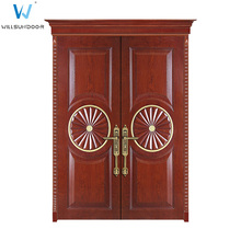 Solid Exterior Wooden Vent Main Double Entry Door Of House