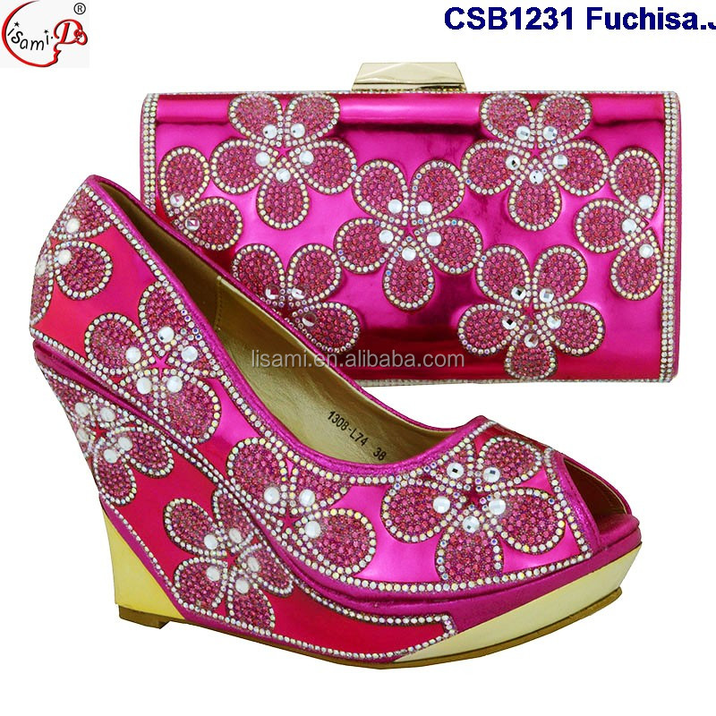 CSB1231 Latest design fashionable italian shoes matching bags,wedge heel shoes for women
