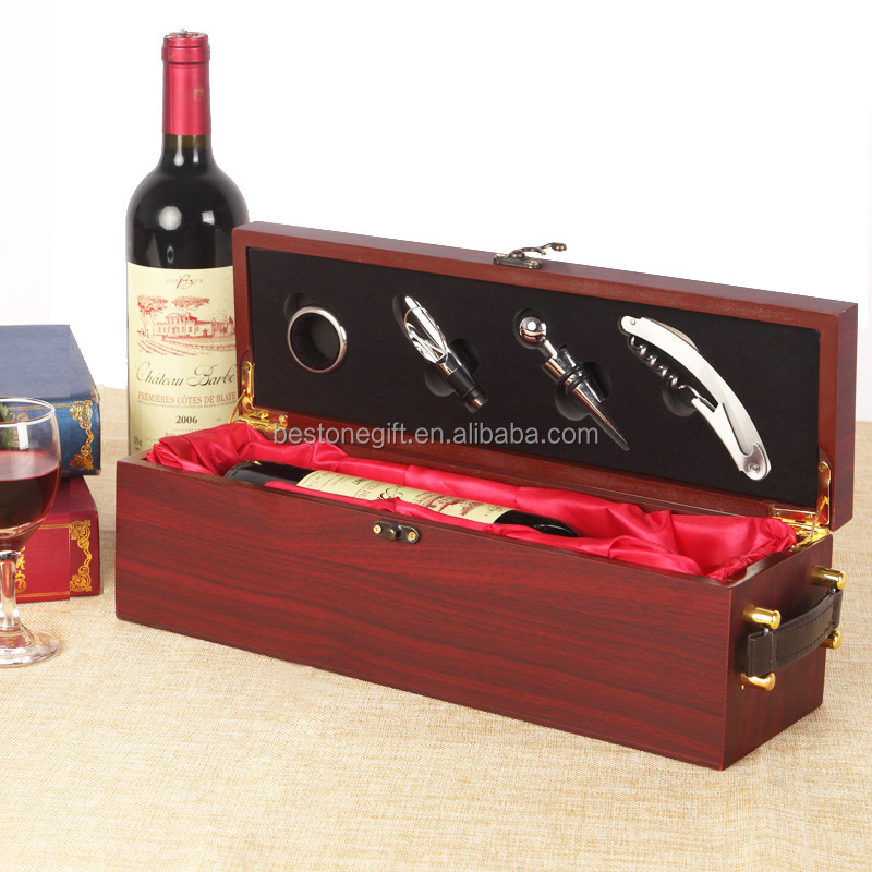 Hinged wine box wooden presentation box for gift packaging