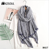 Spring and Autumn Arts Retro Cotton And Linen Fold Striped Scarf