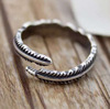 925 sterling silver finger ring opening Thai silver retro twist American Jewelry trendsetter