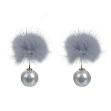 Gray Pom Ball White Acrylic Imitation Pearl Sable Fur Double Sided Ear Studs Earrings