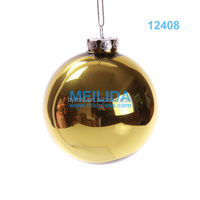 Christmas glass ball with yellow color for christmas hanging tree decoration