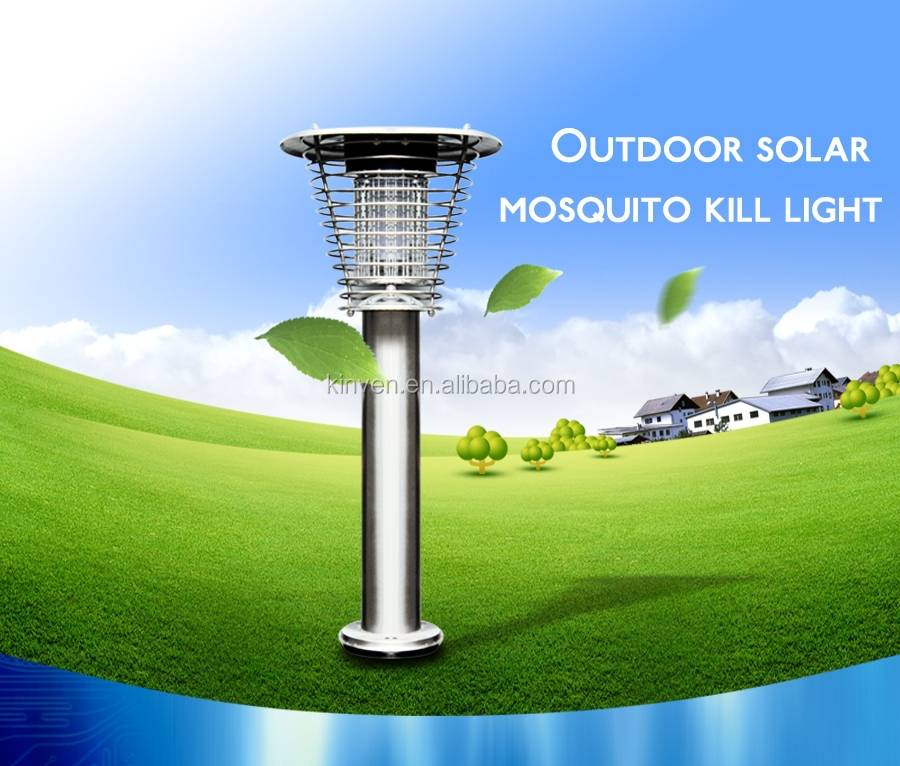 Stainless Steel Portable Solar Pest Mosquito Killer Lamps, Garden Landscape LED Bug Zapper