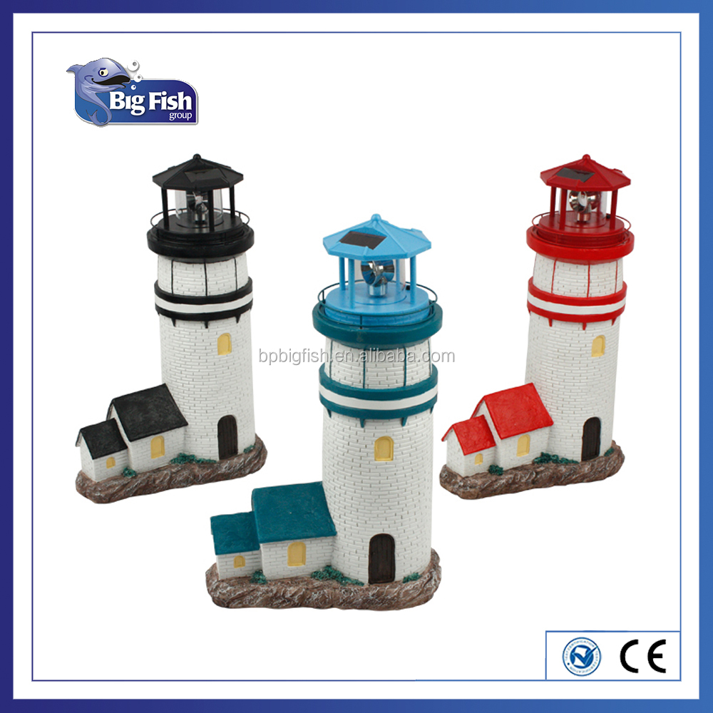 Polyresin LightHouse for Garden Decoration Outdoor LED Solar Light