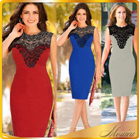 New arrival lace stitching sexy sleeveless blue red grey office midi dress