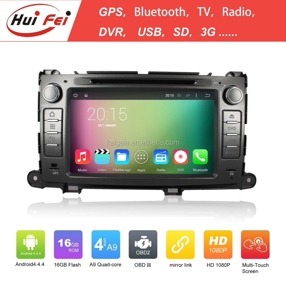 "Capacitive Touch Screen 8"" Double Din Car DVD Player For Toyota Sienna RK3188 Quad-core Car DVD For Sienna"