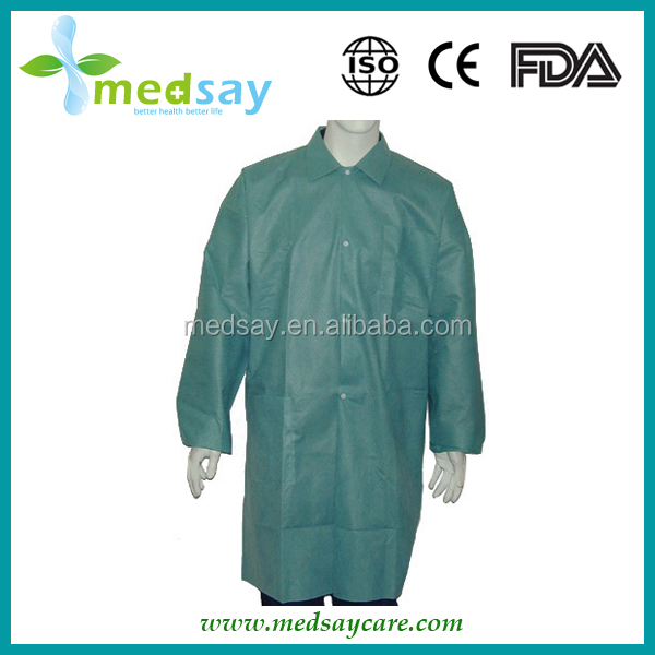 with 3 pockets medical disposable PP non woven Lab coats
