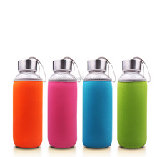 300ml 430ml water glass bottle with fabric sleeve