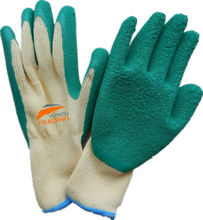 Cheap China good quality 10 gauge Ployster green latex rubber work gloves